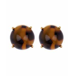 Kate Spade large gumdrop stud earrings - tortoise